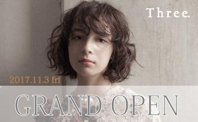 11月3日 京王・小田急多摩センターに『Three.(スリー)』OPEN